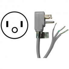 15-Amp Grounded Right-Angle Plug Head Power Supply Cord, 3ft