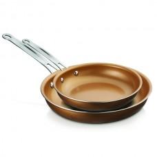 2-Piece Nonstick Induction-Compatible Copper Fry Pan Set