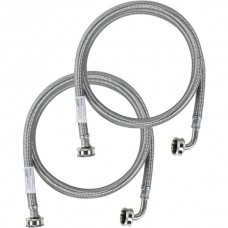 2 pk Braided Stainless Steel Washing Machine Hoses with Elbow, 6ft