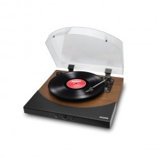 Premier LP Turntable with Built-in Stereo Soundbar (Brown Stained Wood)