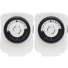 24-Hour Polarized Plug-in Mechanical Timer with 48 On/off & 1 Outlet, 2 pk