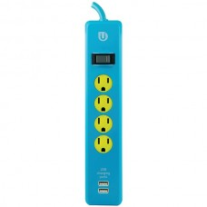 4-Outlet Power Strip with 2 USB Ports, 4ft Cord (Blue & Yellow)