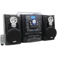 Bluetooth(R) 3-Speed Stereo Turntable Music System with 3-CD Changer & Dual Cassette Deck