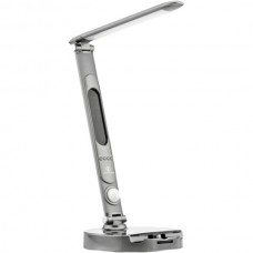 Dimmable LED Desk Lamp with USB and Universal Phone Charger (Silver/Metallic Gray)
