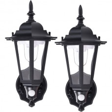 Battery-Powered Motion-Activated Plastic LED Wall Sconce (Black)