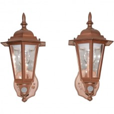 Battery-Powered Motion-Activated Plastic LED Wall Sconce, 2-Pack (Bronze)