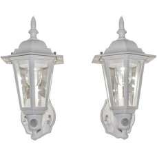 Battery-Powered Motion-Activated Plastic LED Wall Sconce, 2-Pack (White)