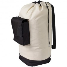 Canvas Laundry Duffle Bag with Pocket and Shoulder Strap