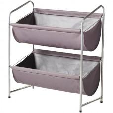 2-Tier Deep Fabric Bin Utility Shelf