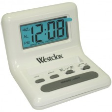 .8 White LCD Alarm Clock with Light on Demand