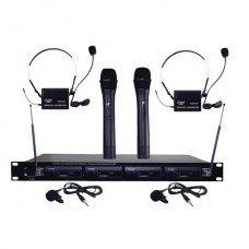 4-Microphone VHF Wireless Rack-Mount Microphone System