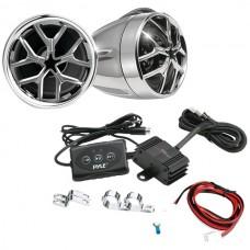 Cycle Series 1,400-Watt Mounted Motorcycle/ATV/Snowmobile Amp & Weatherproof Dual-Handlebar Speakers with Bluetooth(R)