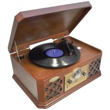 Retro Style Turntable with Bluetooth(R) CD Player & Cassette Deck