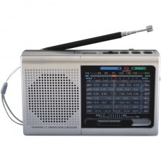 9-Band Rechargeable Bluetooth(R) Radio with USB/SD(TM) Card Input (Silver)
