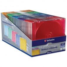 Color CD/DVD Slim Cases, 50 pk